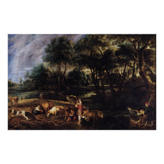 Landscape with Cows Canvas Print