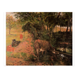 Landscape with cows in an Orchard by Paul Gauguin Postcard