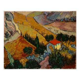 Landscape with House and Ploughman, 1889 Posters