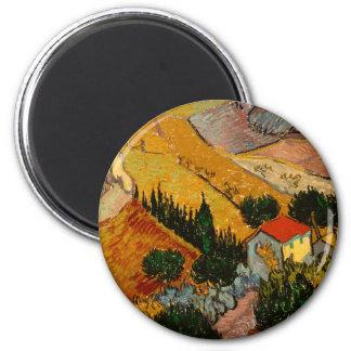 Landscape with House & Ploughman, Vincent Van Gogh 6 Cm Round Magnet