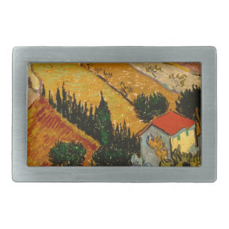Landscape with House & Ploughman, Vincent Van Gogh Belt Buckles