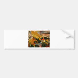 Landscape with House & Ploughman, Vincent Van Gogh Bumper Sticker