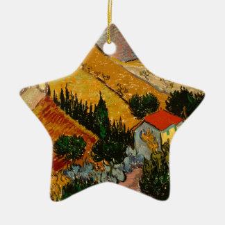 Landscape with House & Ploughman, Vincent Van Gogh Ceramic Ornament