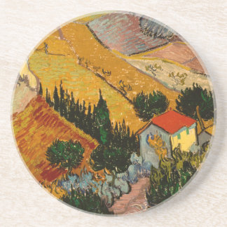 Landscape with House & Ploughman, Vincent Van Gogh Coaster