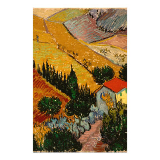 Landscape with House & Ploughman, Vincent Van Gogh Customised Stationery