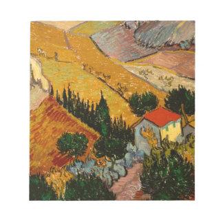 Landscape with House & Ploughman, Vincent Van Gogh Notepad