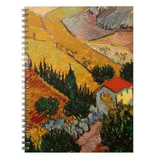 Landscape with House & Ploughman, Vincent Van Gogh Spiral Notebook