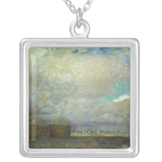 Landscape with Huts, 1900 Silver Plated Necklace