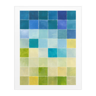 Landscape with Multicolored Pixilated Squares Acrylic Print