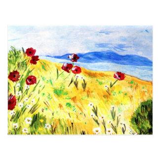 Landscape with poppy postcard