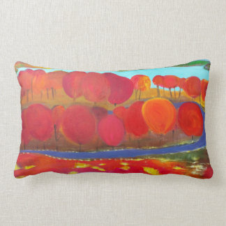 Landscape with red trees lumbar cushion