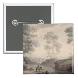 Landscape with River and Horses Watering 15 Cm Square Badge