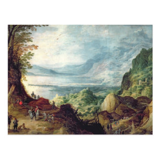 Landscape with Sea and Mountains (oil on canvas) Postcard
