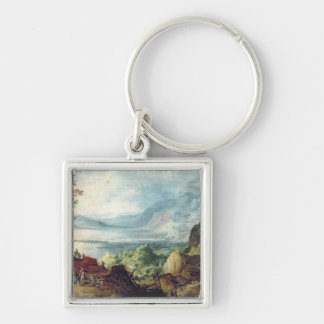 Landscape with Sea and Mountains (oil on canvas) Silver-Colored Square Key Ring