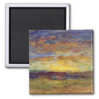 Landscape with Setting Sun Square Magnet