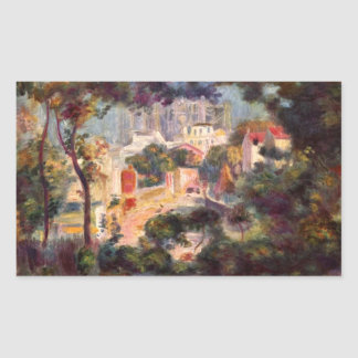 Landscape with the view of Sacre Coeur by Renoir Rectangle Sticker