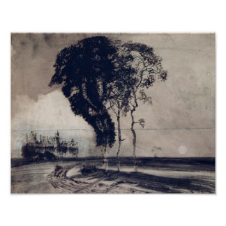 Landscape with Three Trees, 1850 Poster