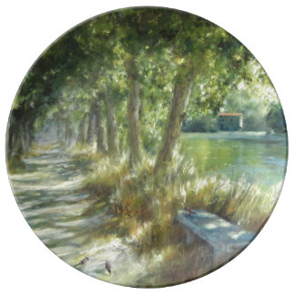 Landscape with to path close to to river poster plate