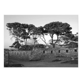 Landscape with trees and ruins of the fortress photo print