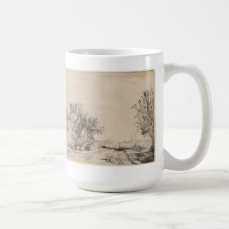 Landscape with Trees, Farm Buildings and a Tower Basic White Mug