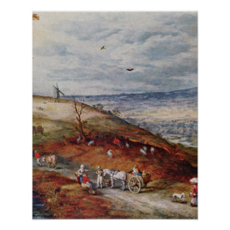 Landscape with Windmill by Jan Brueghel the Elder Posters