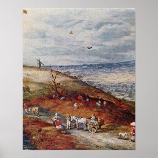 Landscape with Windmill by Jan Brueghel the Elder Print