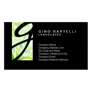 Landscaper Green Foliage Monogram Skilled Trade Standard Business Cards