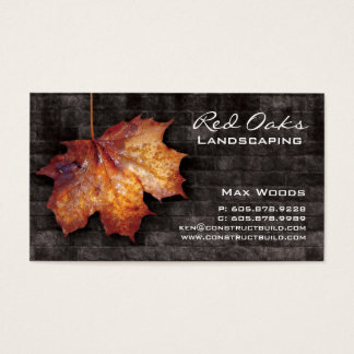 Landscaping Business Card Brick Maple Leaf