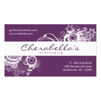 Landscaping Floral Business Card Purple White