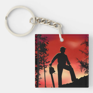 Landscaping Worker Double-Sided Square Acrylic Key Ring