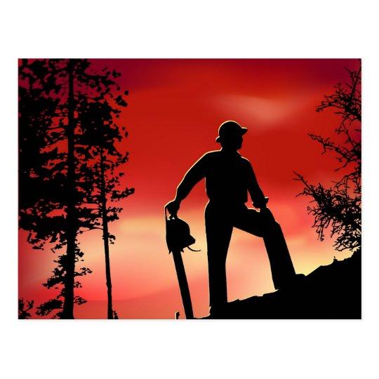 Landscaping worker postcard