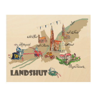 Landshut objects of interest wood wall art