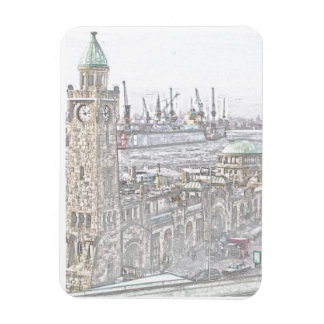 Landungsbrücken Hamburg Rectangular Photo Magnet