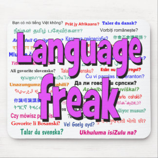 Language freak and background purple mouse pad