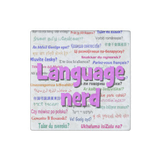 Language nerd and background purple stone magnet