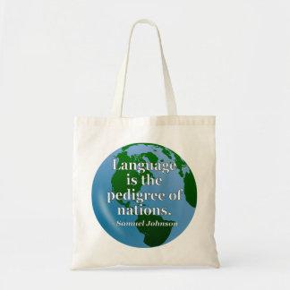 Language pedigree nations Quote. Globe Canvas Bags