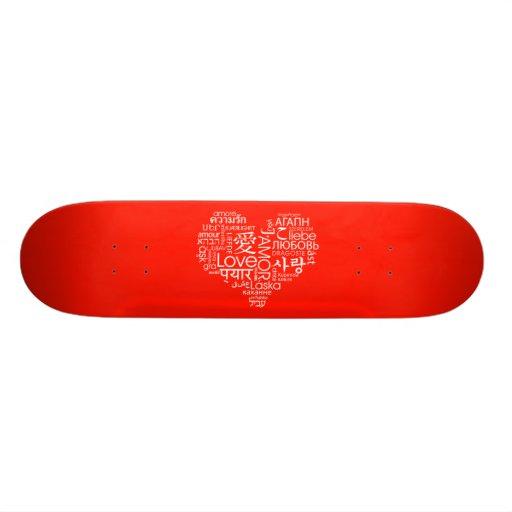 Languages of Love Heart Custom Skateboard