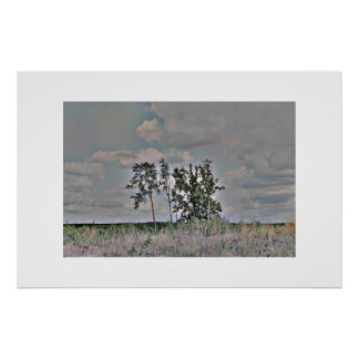 Lanscape with the trees - Framed Print