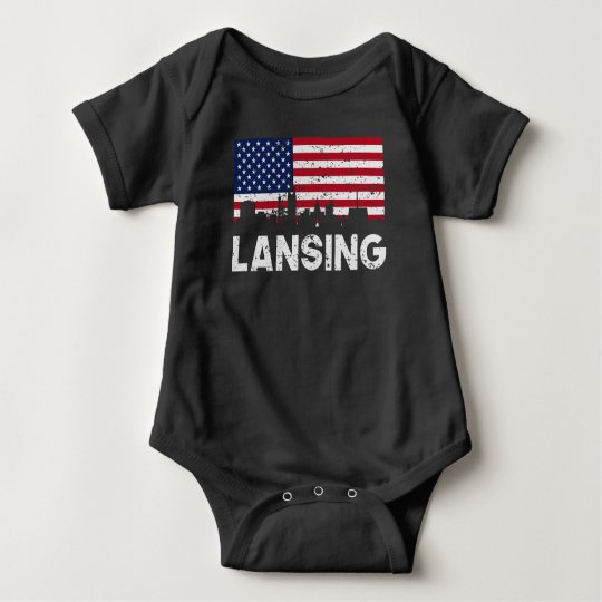 Lansing MI American Flag Skyline Distressed Baby Bodysuit