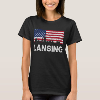 Lansing MI American Flag Skyline Distressed T-Shirt