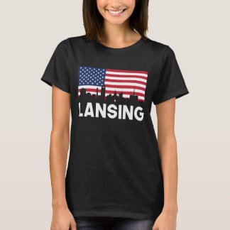 Lansing MI American Flag Skyline T-Shirt
