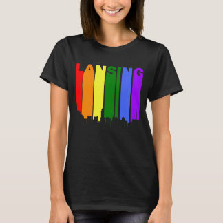 Lansing Michigan Gay Pride Rainbow Skyline T-Shirt