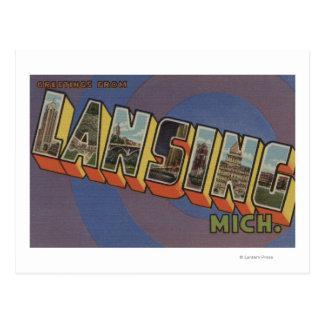 Lansing, Michigan - Large Letter Scenes Postcard
