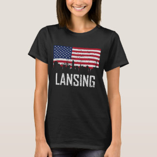 Lansing Michigan Skyline American Flag Distressed T-Shirt