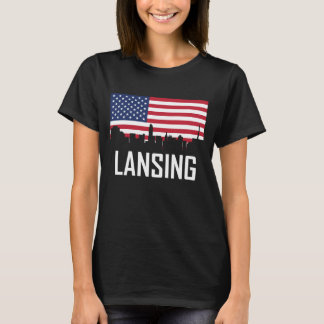 Lansing Michigan Skyline American Flag T-Shirt