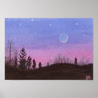 Lansing Moon & Stars Poster