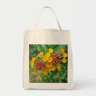 Lantana Garden Flower Yellow Canvas Bags