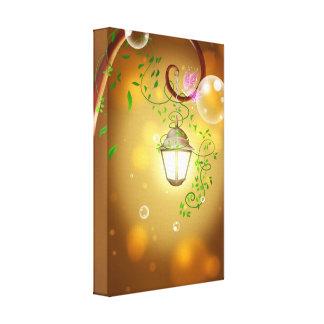 lantern-83659 WARM GLOWING LANTERN COTTAGE FAIRYTA Stretched Canvas Prints