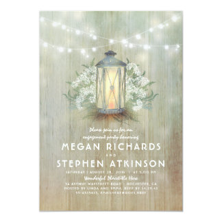 Lantern and Baby's Breath Rustic Engagement Party Card