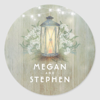 Lantern and Baby's Breath Rustic Wood Wedding Classic Round Sticker